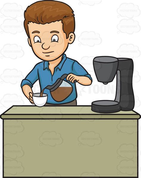 A Man Pouring A Cup Of Freshly Brewed Coffee Cartoon Clipart
