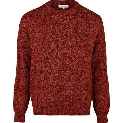 mens oversized knitted jumper river island orange fleck knit oversized jumper in for