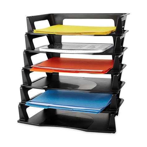 desk tray organizers plastic letter tray 6 pack paper holder organizer self