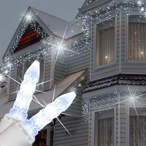 led icicle lights cool white 70 m5 cool white twinkle led icicle lights