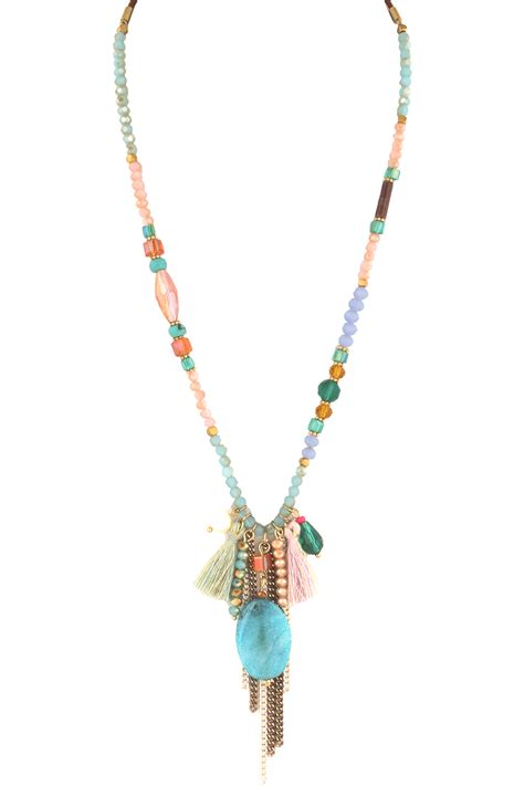 tassel bead necklace agate beaded tassel necklace necklaces