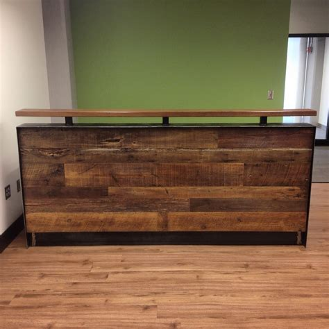 metal reception desk reclaimed wood reception desk reclaimed wood steel