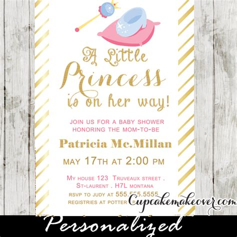 Name Wall Stickers gold foil princess theme baby shower invitation