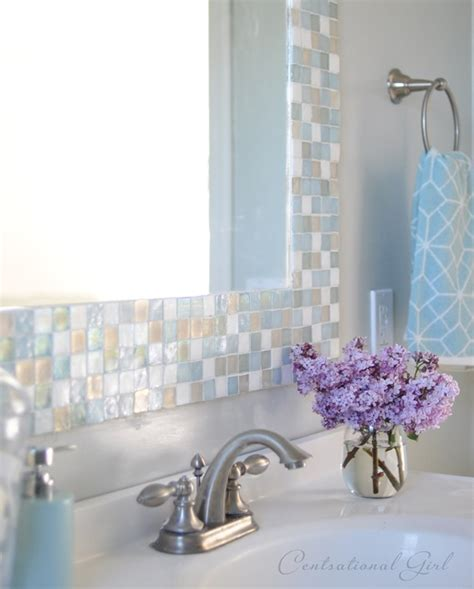 mosaic tile bathroom mirror diy mosaic tile bathroom mirror centsational