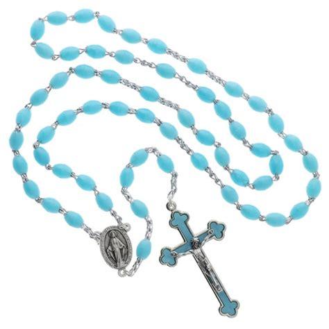 plastic rosary aqua blue plastic rosary luminous the catholic company