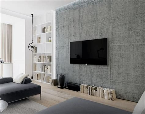 interior wall ideas exposed concrete wall with wall mounted tv in the lounge