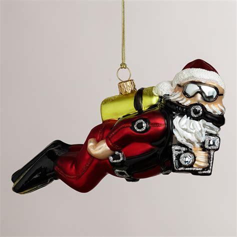 scuba diving ornaments european glass scuba diving santa ornament world market