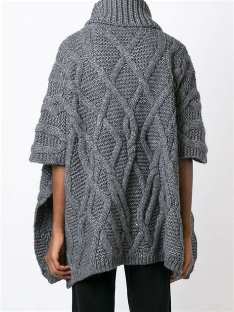cable knit poncho woolrich cable knit poncho in gray lyst