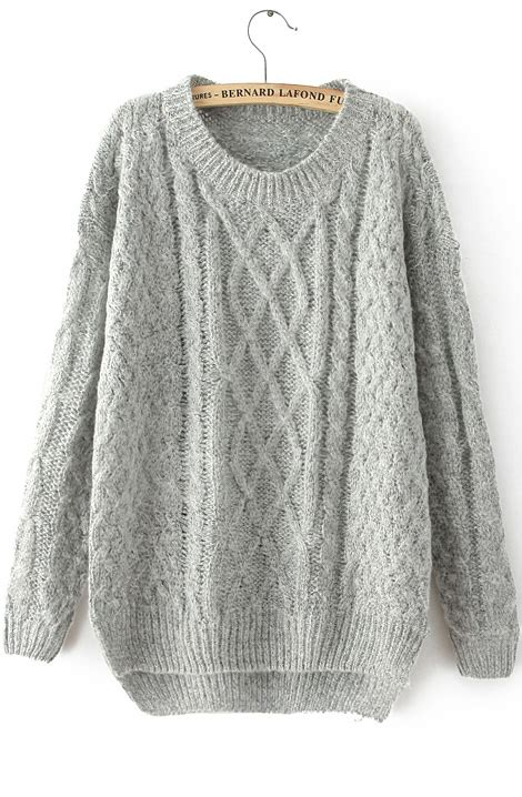 sweater knit grey sleeve cable knit sweater shein sheinside