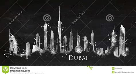 chalk paint dubai silhouette chalk dubai stock vector image 51609896