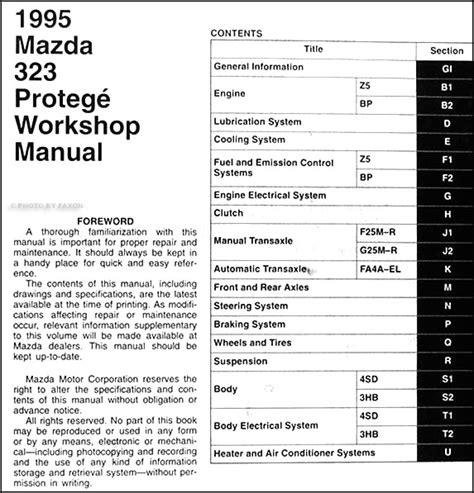 1995 mazda 323 protege repair shop manual original