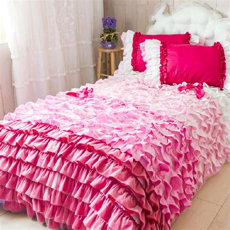 pink ruffle comforter set quotes