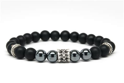 black onyx bead bracelet for matt black onyx and hematite beaded mens bracelet handmade