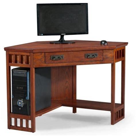 oak corner computer desks leick furniture corner computer desk in mission oak 82430