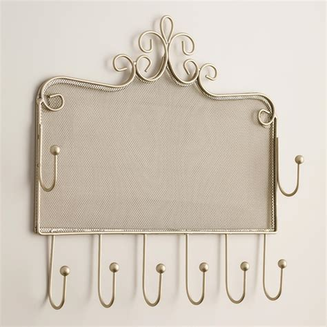 jewelry holder pewter wall jewelry holder with hooks world market