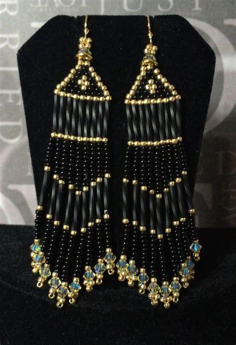 beaded fringe uk seed bead fringe earrings black and gold beaded