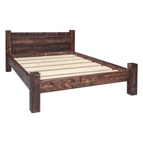 wood bed frames with headboard bed frame plank headboard funky chunky furniture