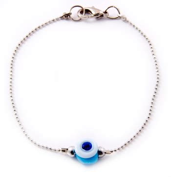 evil eye glass bead bracelet glass beaded evil eye bracelet blue and white 1 pc