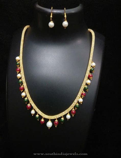 simple beaded necklace designs beaded imitation necklace design south india jewels