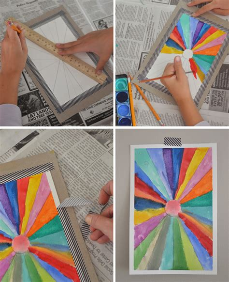 painting craft projects diy sunburst paintings back to school math