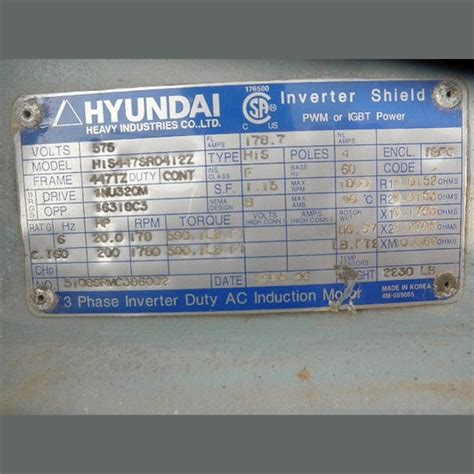 200 Hp Electric Motor by Hyundai Electric Motor Supplier Worldwide Used 200 Hp