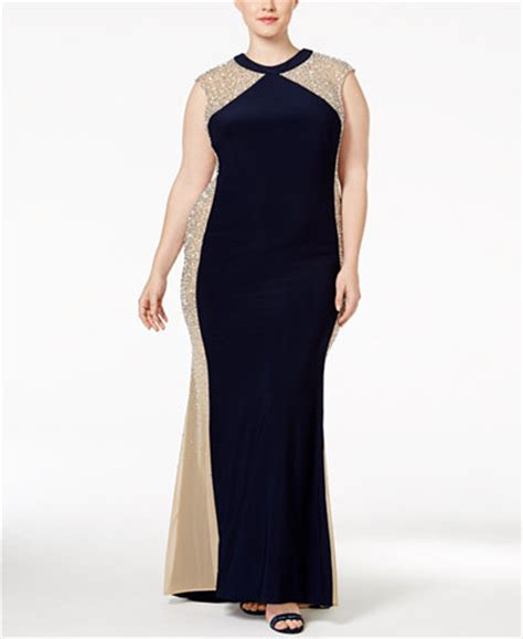 xscape beaded illusion gown xscape plus size beaded illusion colorblocked gown