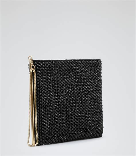 beaded clutch bag black beaded clutch bag reiss