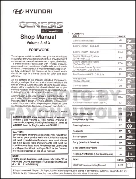 manual repair autos 2010 hyundai genesis coupe free book repair manuals 2010 hyundai genesis coupe repair shop manual 3 volume set