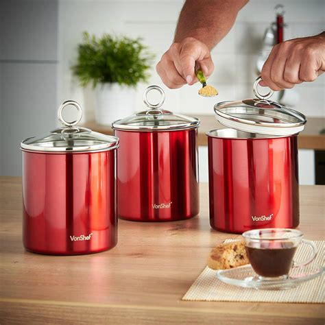 canister set 3 kitchen storage jars stainless steel coffee sugar flour ebay
