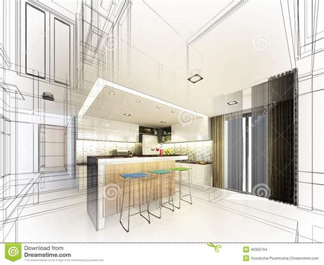 Kitchen Designs Unlimited abstract sketch design of interior bedroom stock