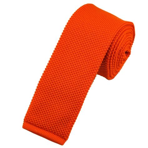 Plain Bright Orange Knitted Tie By Buck From