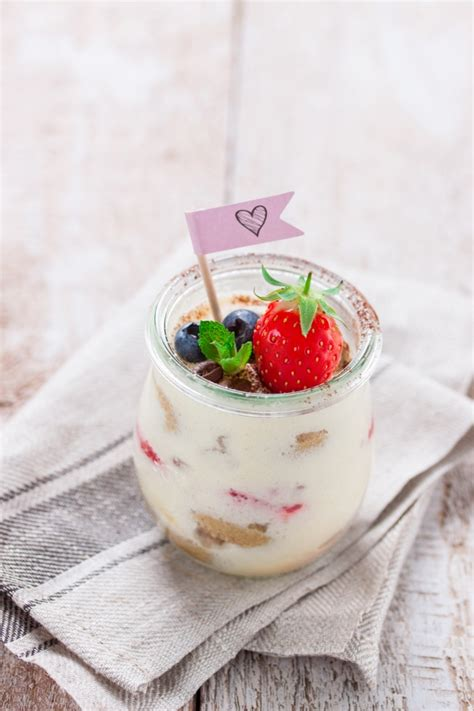 decorative fruits delicious tiramisu with decorative fruit photo free