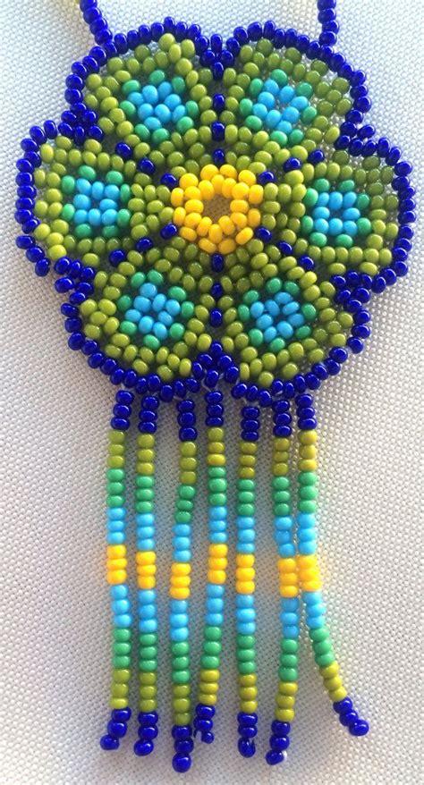 huichol beading tutorial mexican huichol beaded flower necklace por aramara en etsy