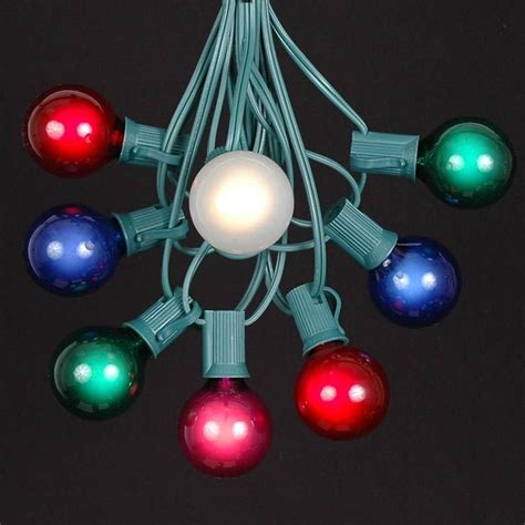 string lights with bulbs multi colored g40 globe outdoor string light set on