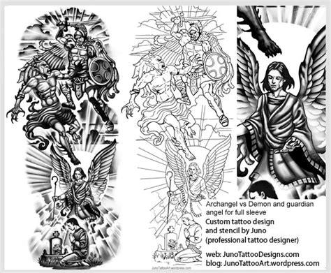 archangel vs demon guardian angel tattoo template arm