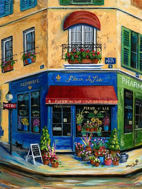 acrylic paint national bookstore flower shop by marilyn dunlap