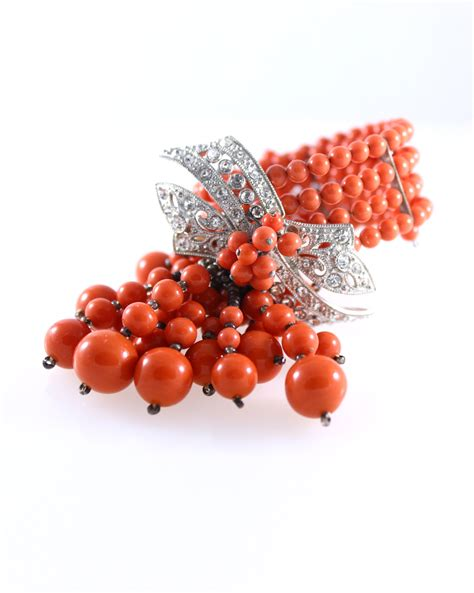 coral glass miriam haskell frank hess bracelet coral glass bead