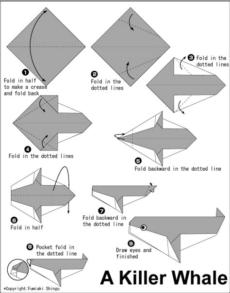 whale origami origami killer whale diagram vbs craft ideas