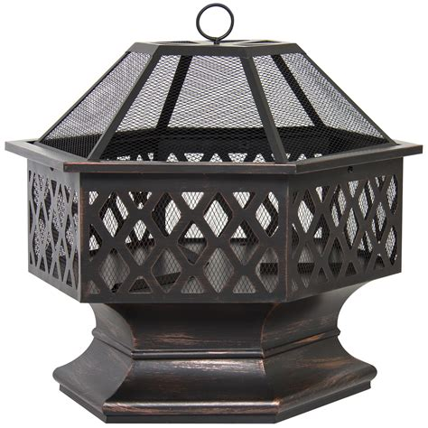 firepit bowl bcp hex shaped pit outdoor home garden backyard