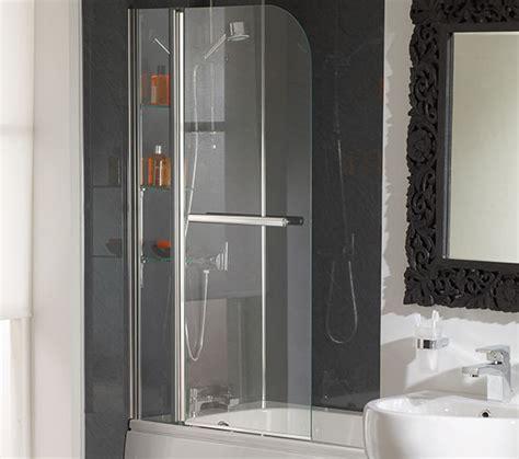 bathroom glass shelves with rail essential cascade bath screen with rail and glass shelves