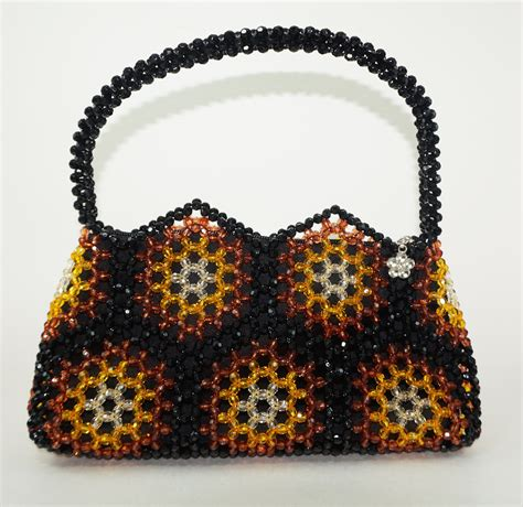 beaded bags beaded handbag brown and black handbag handbag