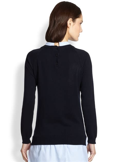 knit tunics carven cotton combo knit tunic in blue lyst