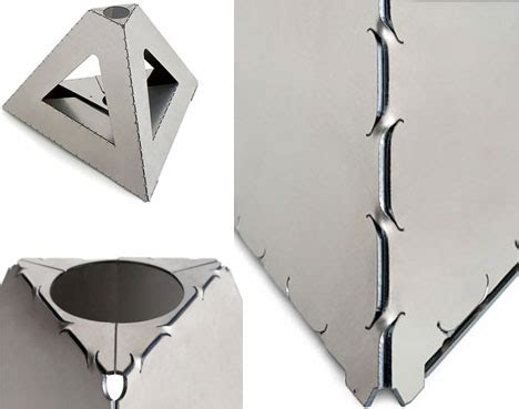 origami steel metal origami flat pack sheets form strong shapes