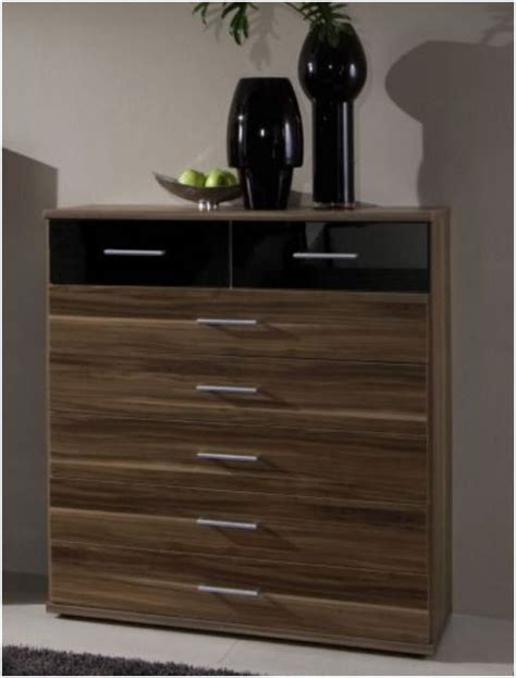 walnut and black bedroom furniture dresden large chest of drawer high gloss black and walnut