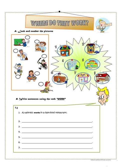 do they work where do they work worksheet free esl printable
