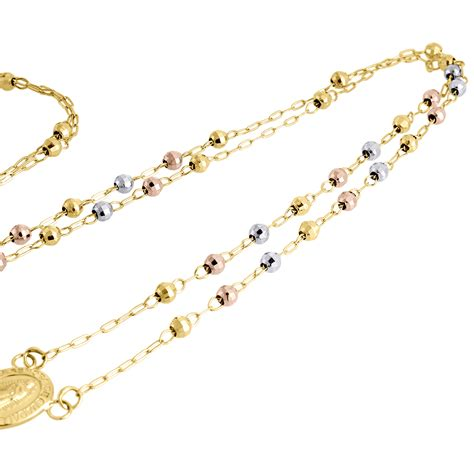 rosary chain for jewelry 10k gold tri color rosary cut bead 3mm