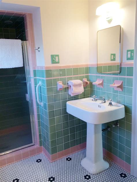 pink and green bathroom accessories see design a vintage style green and pink tile