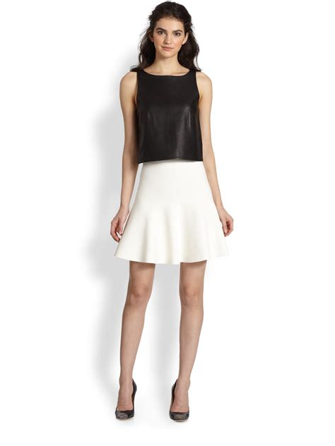 white knit skirt bcbgmaxazria flared stretch knit skirt in white lyst