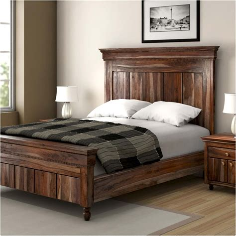 modern king size bed frame modern rustic solid wood 3pc king size bed frame
