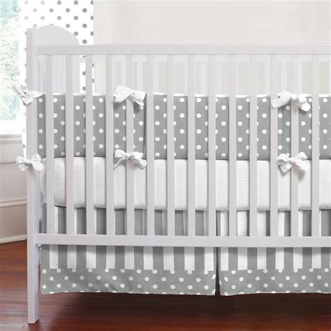 gray and white dots and stripes 3 crib bedding set